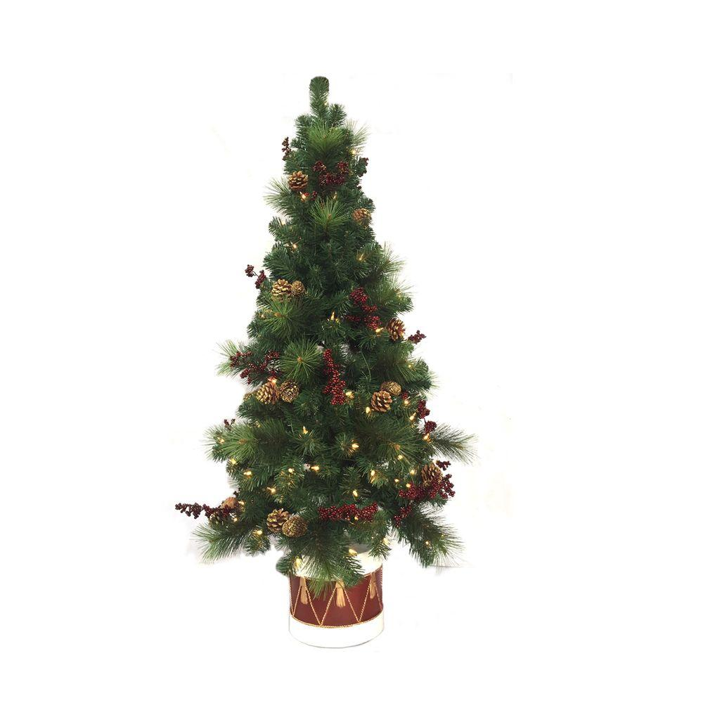 Home Accents Holiday 4.5 Ft. Pre-Lit Potted Artificial