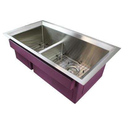 Studio Undermount Stainless Steel 33 in. Double Offset Bowl Kitchen Sink in Brushed Finish