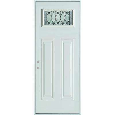 36 in. x 80 in. Nightingale Patina Rectangular Lite 2-Panel Painted White Right-Hand Inswing Steel Prehung Front Door