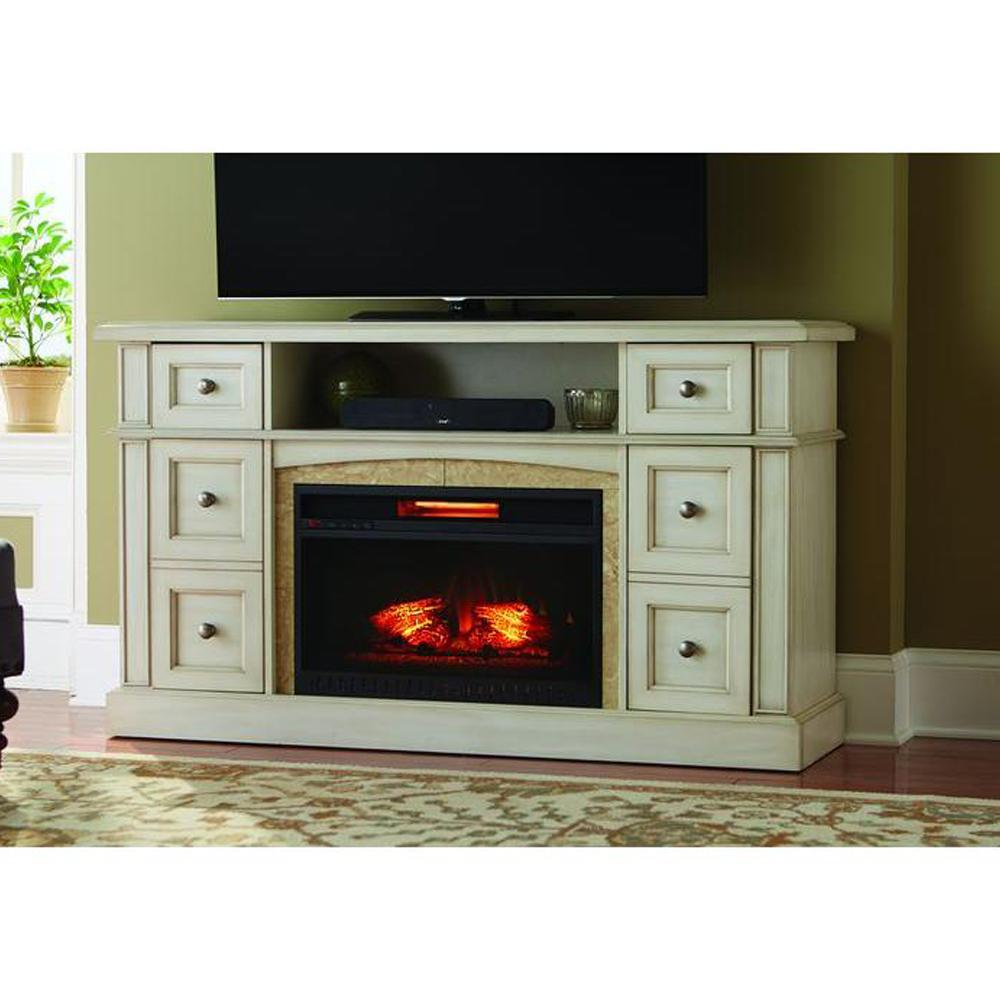 Add warmth to your living space with this Home Decorators Collection Bellevue Park Media Console Infrared Electric Fireplace in Brown Twilight Grey Finish.