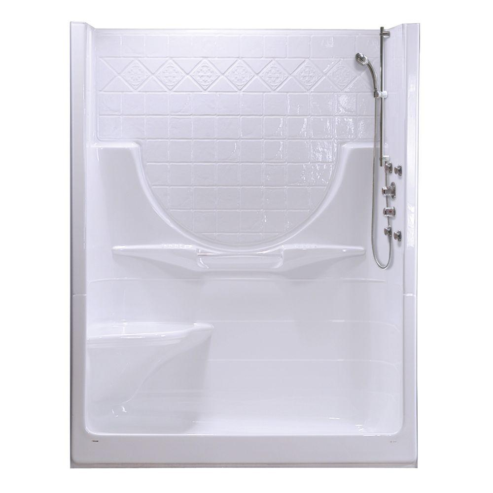 MAAX Montego II 33-1/4 in. x 59-1/4 in. x 74-1/2 in. Shower Stall with Left Seat in White