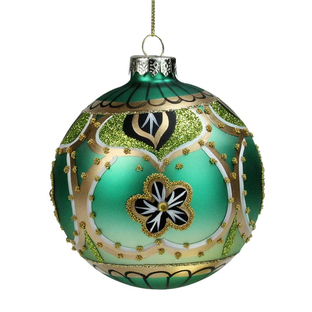 Northlight 4 In Green Gold And Black Floral Bead And Jewel Glass