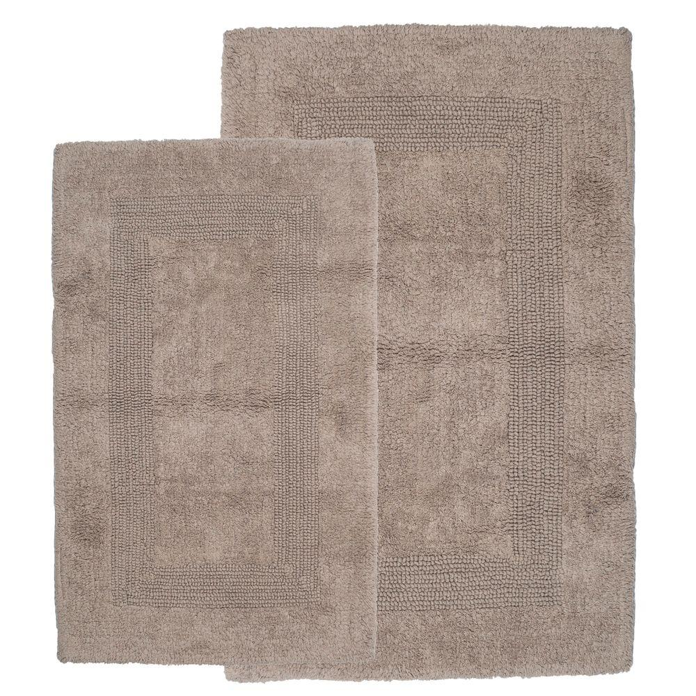 Lavish Home Taupe 1 ft. 10 in. x 2 ft. 11 in. Cotton 2-Piece Bath Rug Set