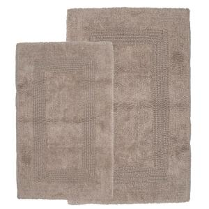 Taupe 1 ft. 10 in. x 2 ft. 11 in. Cotton 2-Piece Bath Rug Set