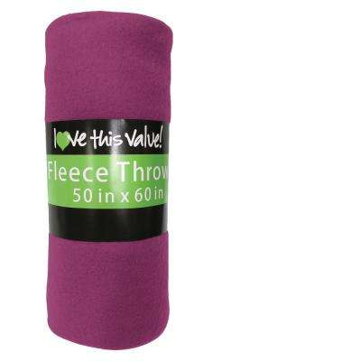 50 in. x 60 in. Purple Super Soft Fleece Throw Blanket