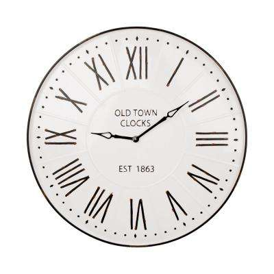 31.5 in. Oversized Farmhouse Metal Enamel Wall Clock