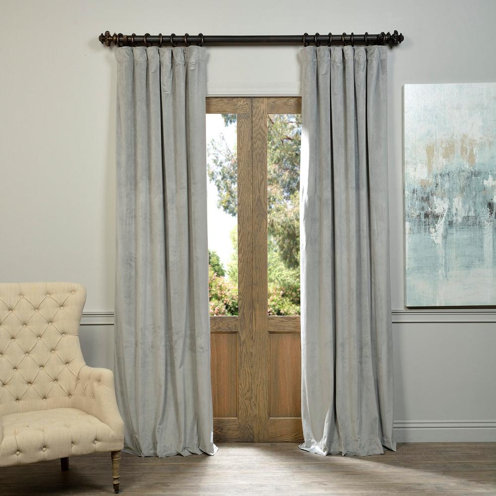 Blackout Signature Silver Grey Velvet Curtain 50 In W X 96 L 1 Panel