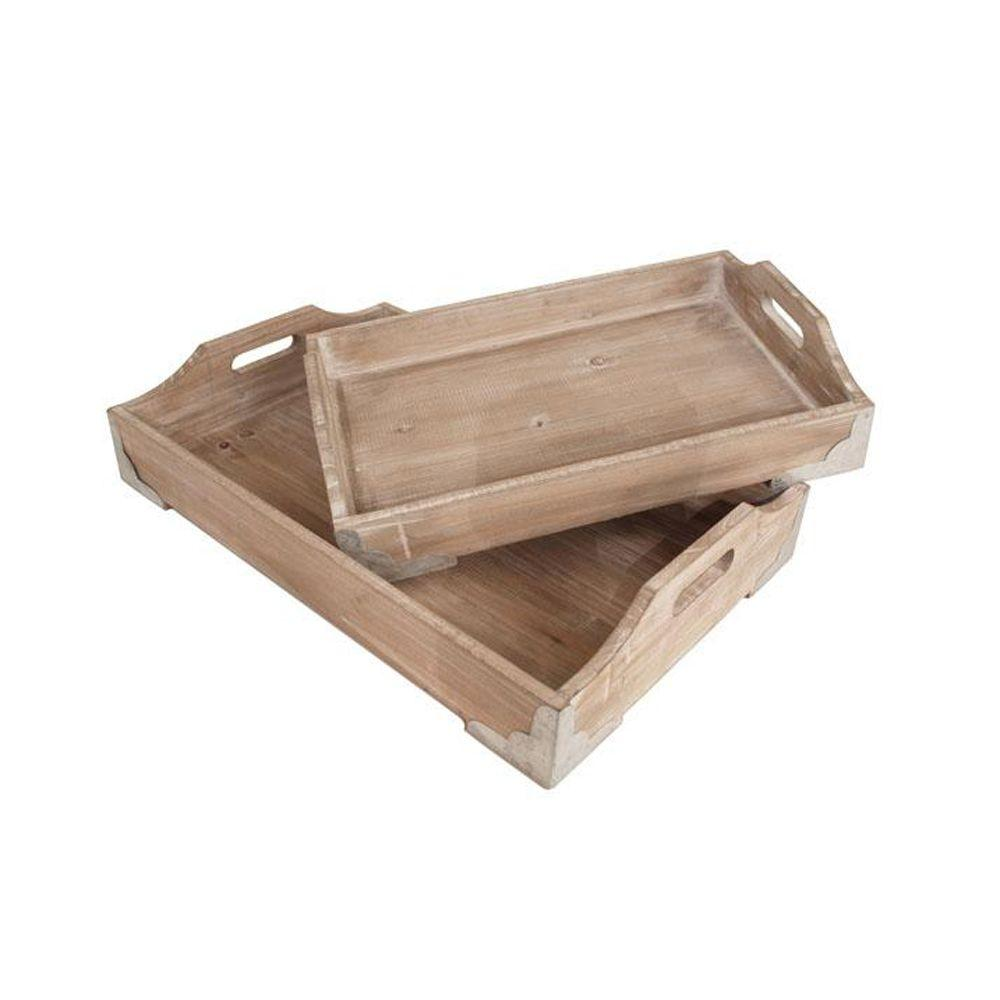 Home Decorators Collection 14 in. W Karyn Light Tan Wooden Tray Set (Set of 2)