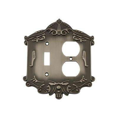 Victorian Switch Plate with Toggle and Outlet in Antique Pewter