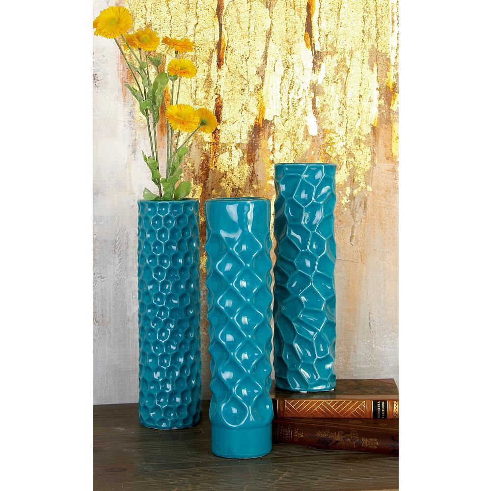 12 in. Modern Teal Blue Ceramic Decorative Vases (Set of 3)