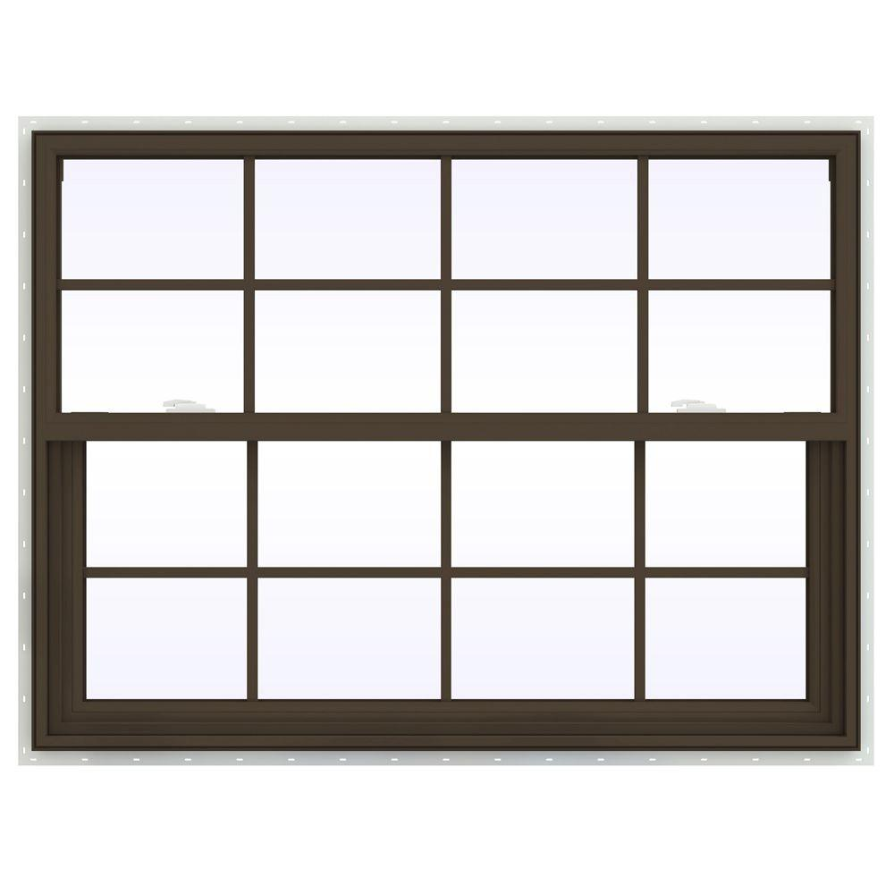 JELD-WEN 47.5 in. x 35.5 in. V-2500 Series Single Hung Vinyl Window with Grids - Brown