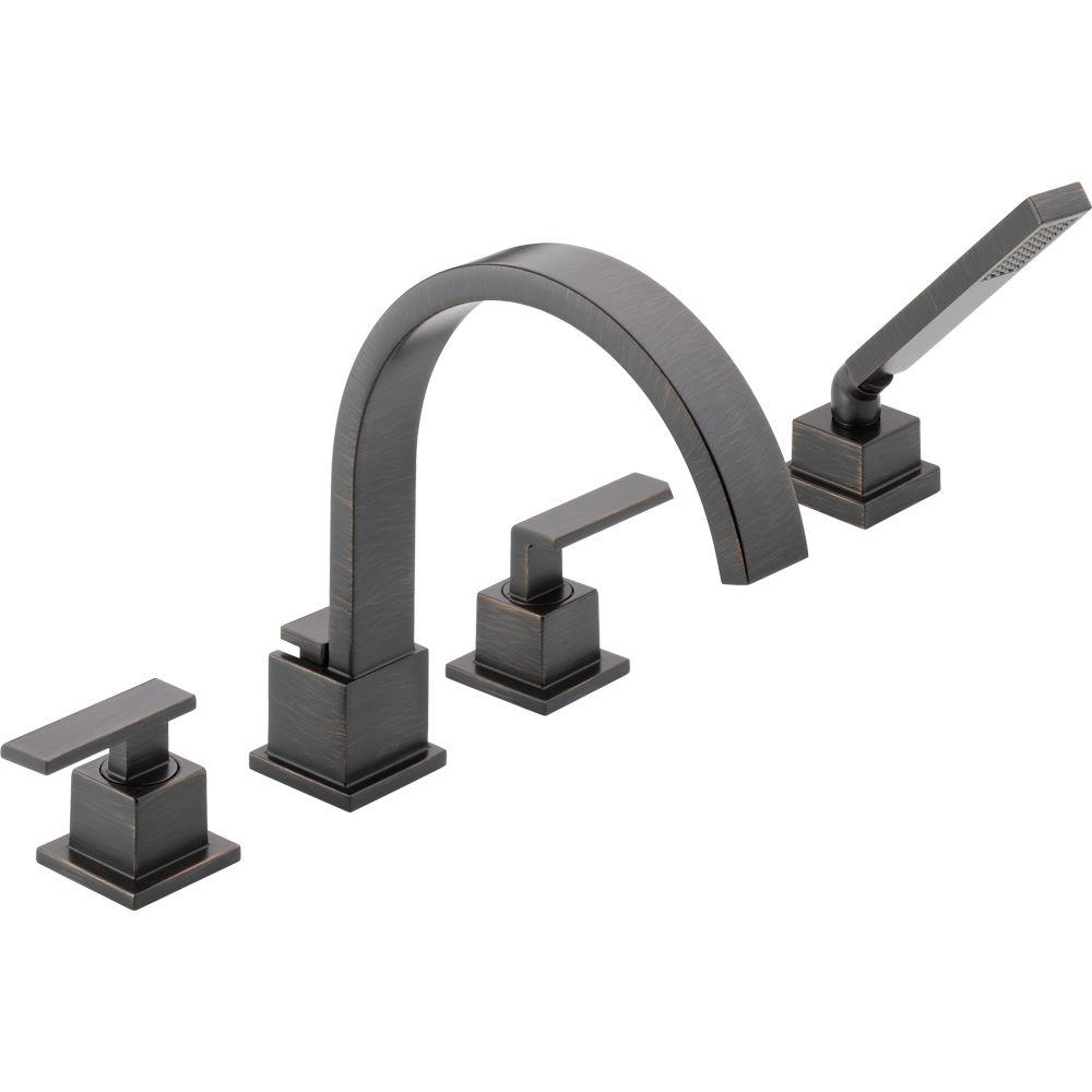 Delta Vero 2-Handle Deck-Mount Roman Tub Faucet with Hand Shower Trim Kit Only in Venetian Bronze (Valve Not Included)