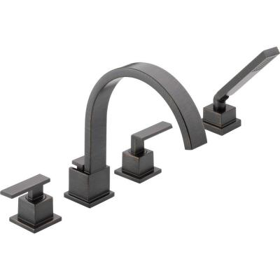Vero 2-Handle Deck-Mount Roman Tub Faucet with Hand Shower Trim Kit Only in Venetian Bronze (Valve Not Included)