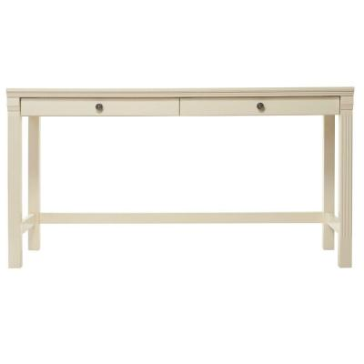 57 in. Ivory Rectangular 2 -Drawer Writing Desk with Drawers