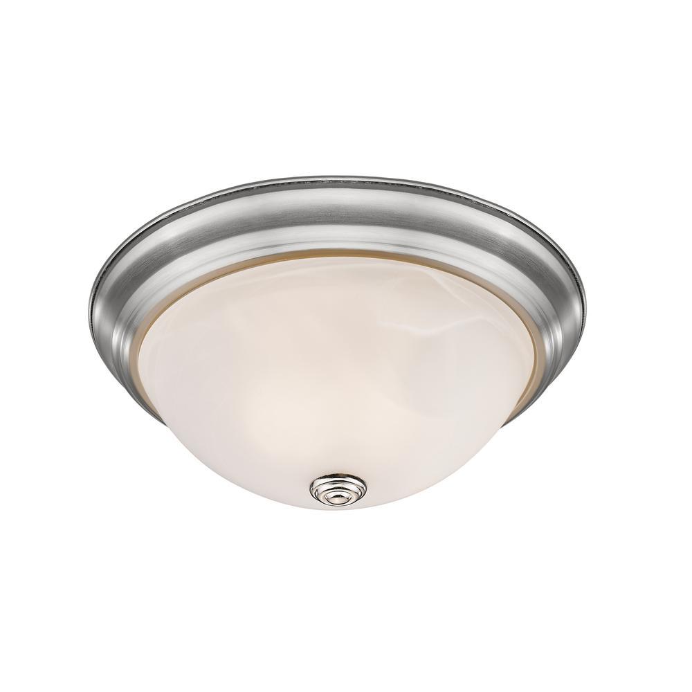 Curran 3-Light 60-Watt Brushed Nickel Flush Mount with Alabaster Glass