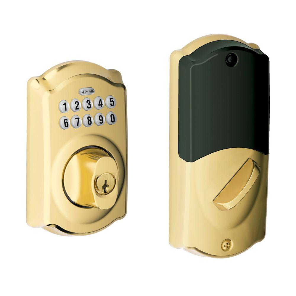 Schlage Bright Brass Home Keypad Deadbolt with Nexia Home Intelligence