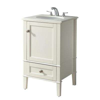 Chelsea 20 in. Bath Vanity in Soft White with Quartz Marble Vanity Top in Bombay White with White Basin