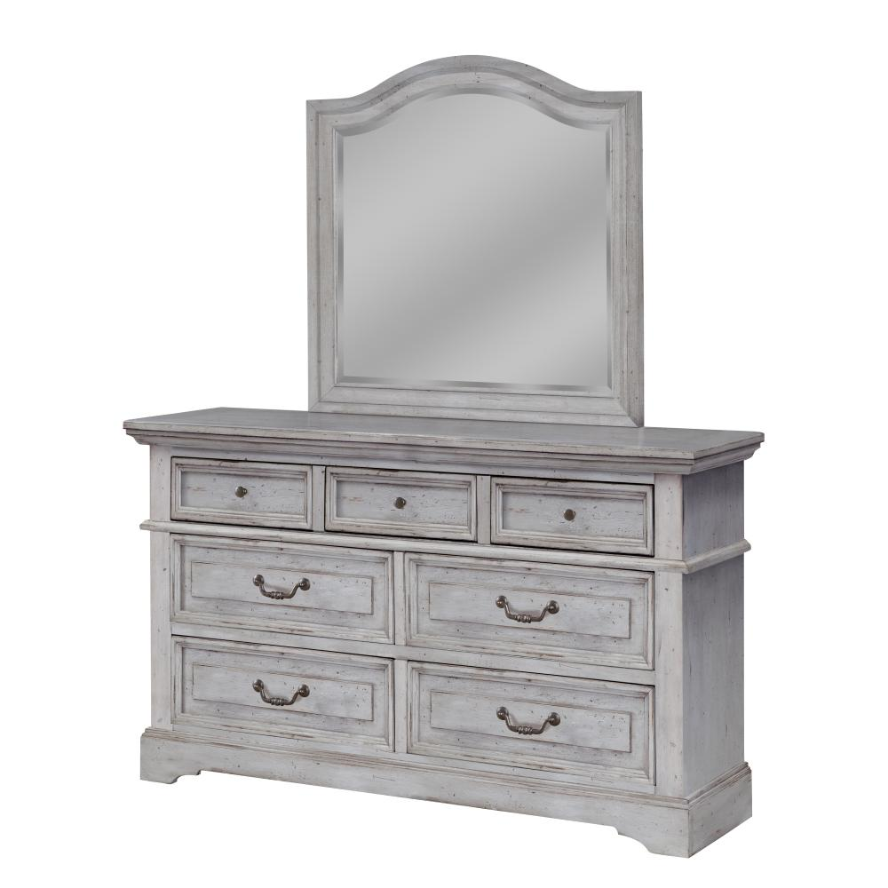 Stonebrook 7-Drawer Antique Grey Dresser with Mirror