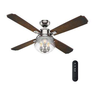 Sophia 54 in. LED Indoor Polished Nickel Ceiling Fan with Remote Control and Light
