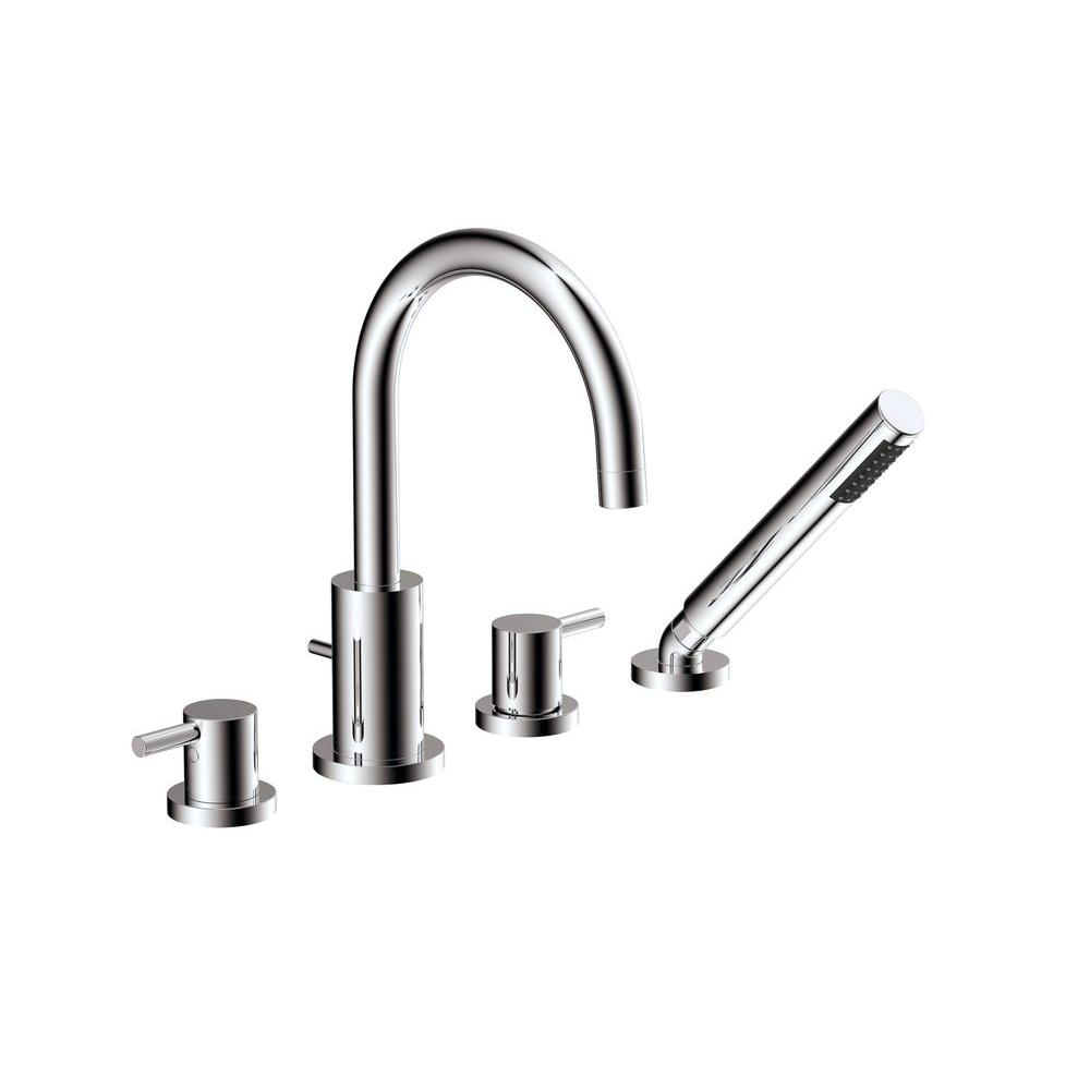 Universal Tubs Magnum 2-Handle Deck-Mount Roman Tub Faucet with Hand Shower in Polished Chrome