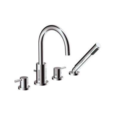 Magnum 2-Handle Deck-Mount Roman Tub Faucet with Hand Shower in Polished Chrome
