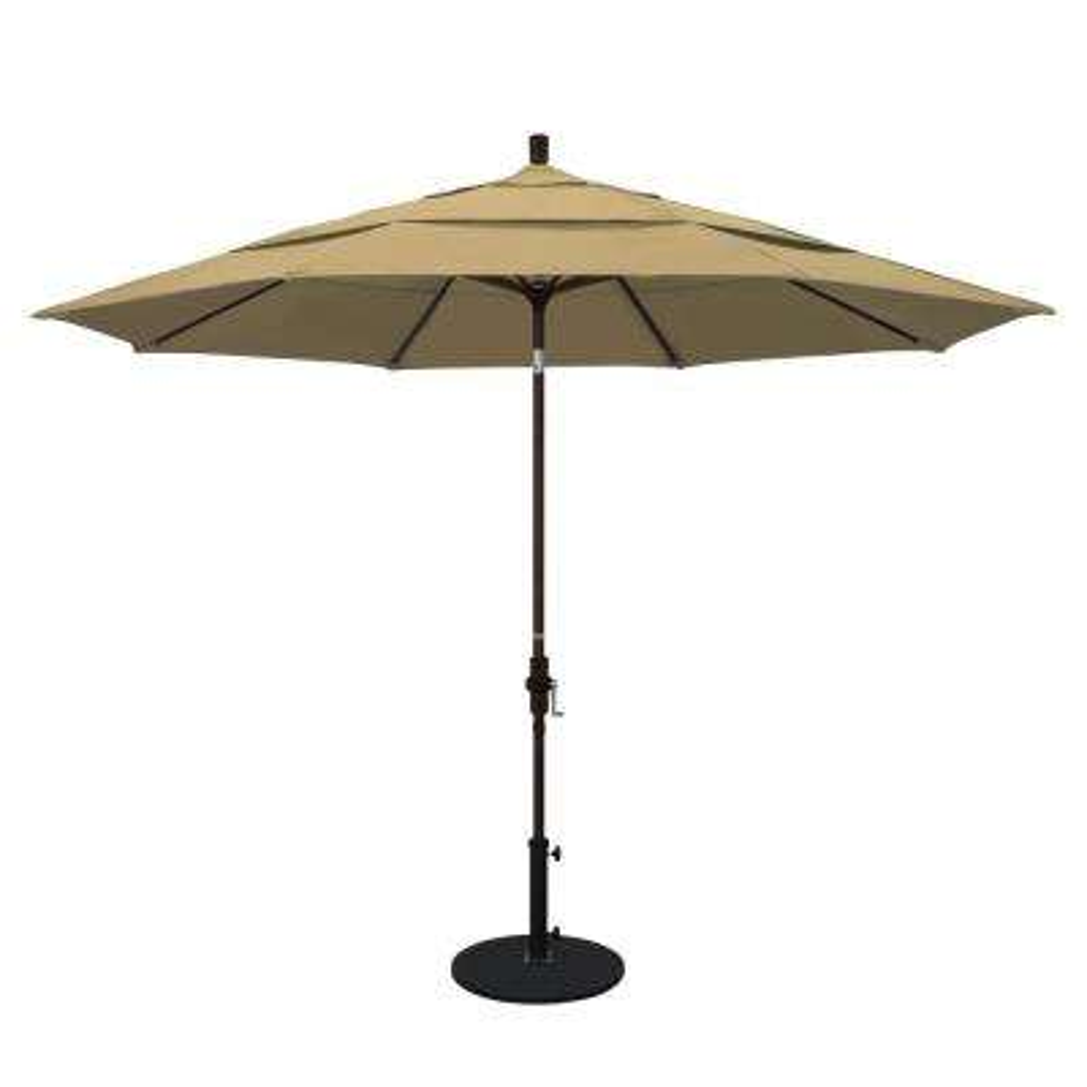 11 ft. Aluminum Collar Tilt Double Vented Patio Umbrella in Champagne Olefin