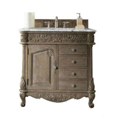 Monte Carlo 36 in. W Single Vanity in Empire Gray with Marble Vanity Top in Carrara White with White Basin