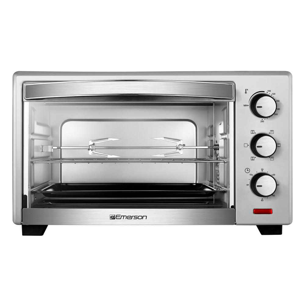 emerson 6 slice stainless steel convection and rotisserie countertop toaster oven er101003 the. Black Bedroom Furniture Sets. Home Design Ideas