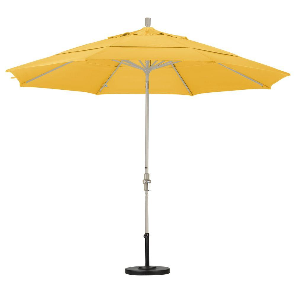 11 ft. Fiberglass Collar Tilt Double Vented Patio Umbrella in Lemon