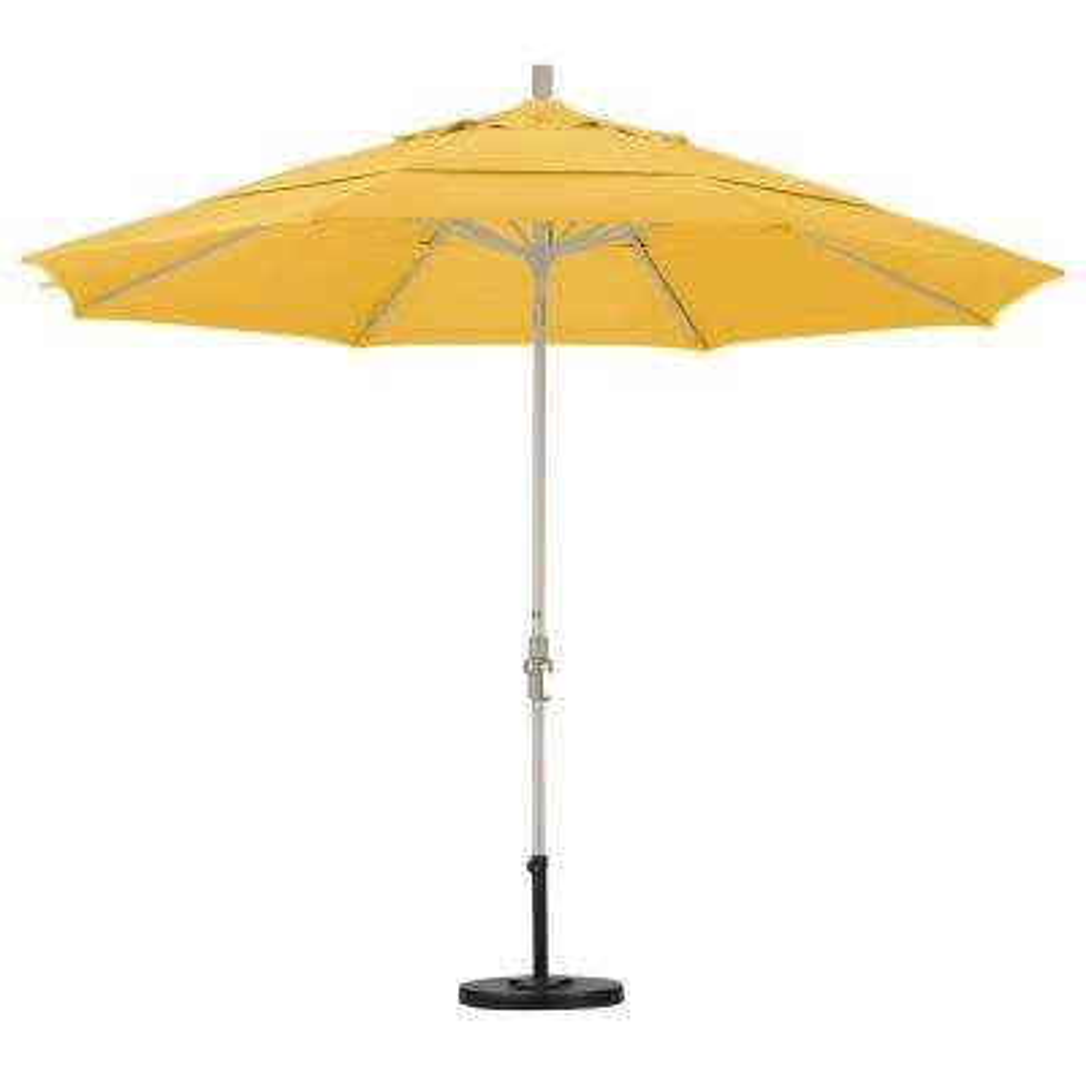 11 ft. Fiberglass Collar Tilt Double Vented Patio Umbrella in Lemon Olefin