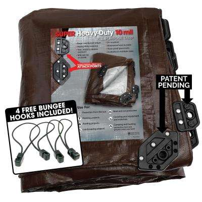 10 ft. x 14 ft. Super Corner Heavy-Duty Brown/Silver Reversible Poly 10 mil Tarp Kit Include 4 Free Bungee Hook Tie Down