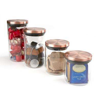 4-Piece Glass Canister Set, Clear with Gold Tops