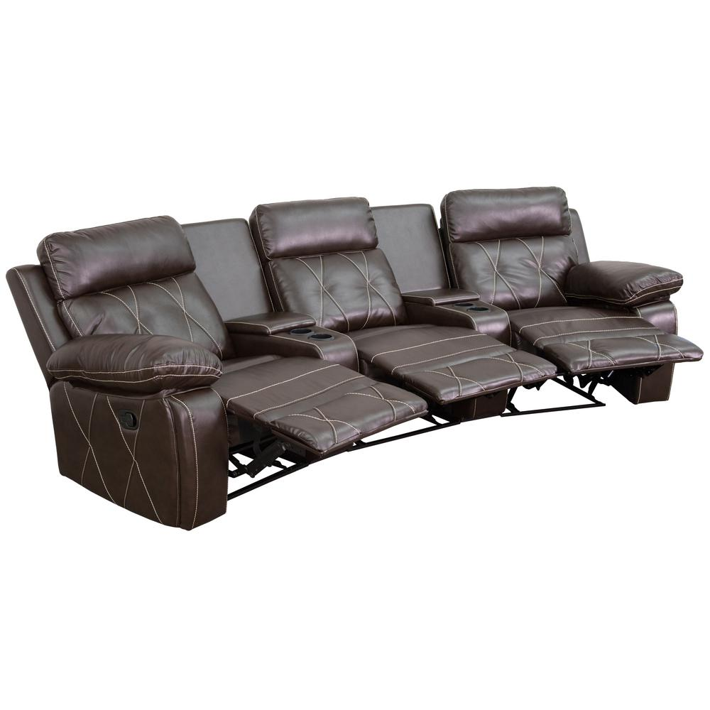 Flash Furniture Reel Comfort Series 3 Seat Reclining Brown Leather Theater  Seating Unit With Curved