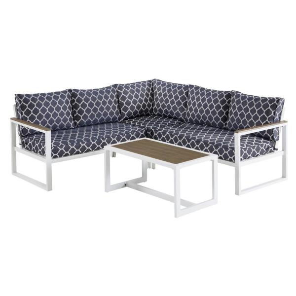 West Park White Aluminum Outdoor Patio Sectional Sofa Seating Set with CushionGuard Midnight Trellis Navy Blue Cushions