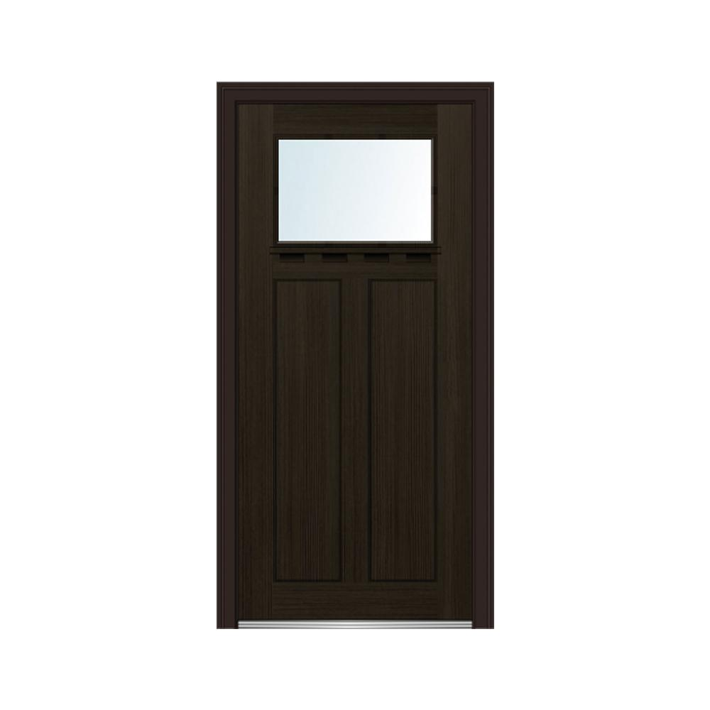 MMI Door 36 in. x 80 in. Right-Hand Inswing 1-Lite Clear Low-E 2-Panel Shaker Stained Fiberglass Fir Prehung Front Door w/ Shelf