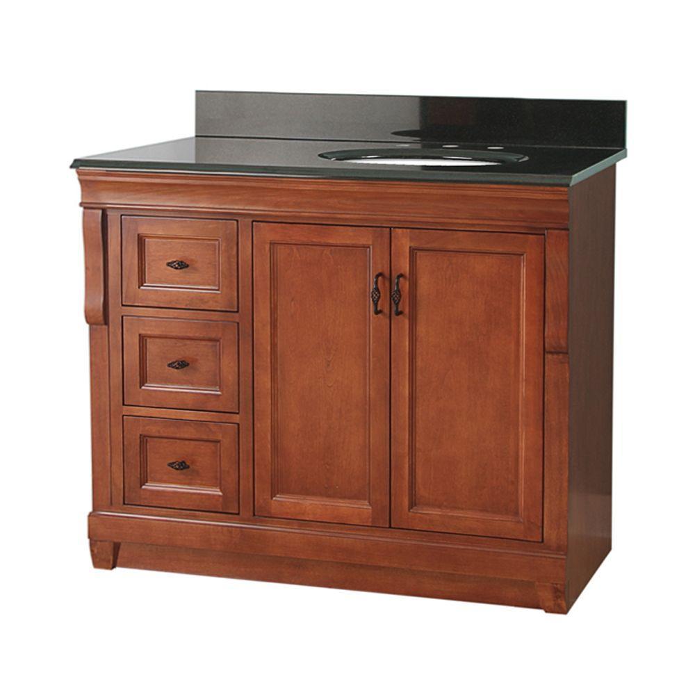 Naples 37 in. W x 22 in. D Bath Vanity in Warm Cinnamon with Left Drawers with Granite Vanity Top in Black