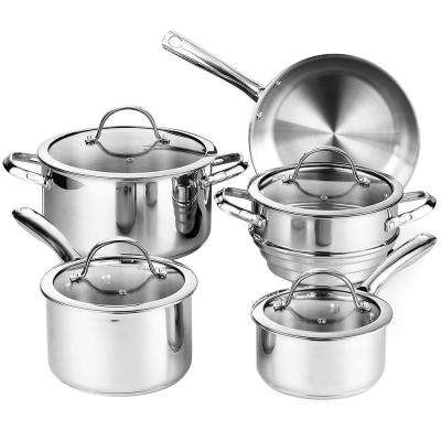 9-Piece Silver Cookware Set with Lids