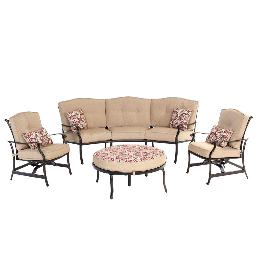 Traditions 4-Piece Patio Deep Seating Set with Reversible Ottoman and Natural