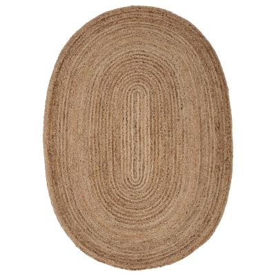 Natural Jute Natural/Gray 7 ft. x 9 ft. Oval Indoor Area Rug