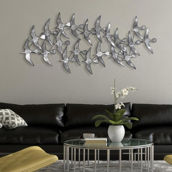 ''Flock'' Hand Painted Etched Metal Wall Sculpture 52.0 in. x 22.8 in.