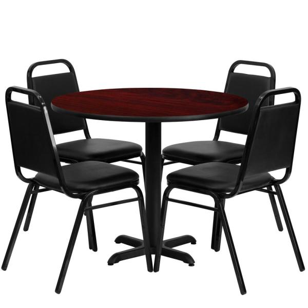 5-Piece Mahogany Top/Black Vinyl Seat Table and Chair Set