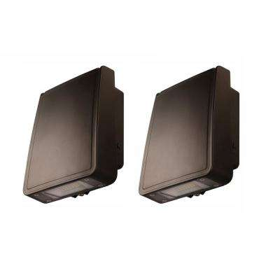 28-Watt Integrated LED Wall Pack Light with 3000 Lumens Outdoor Security Lighting (2-Pack)