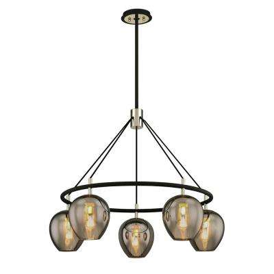 Iliad 5-Light Carbide Black 35.25 in. W Pendant with Plated Smoke Glass