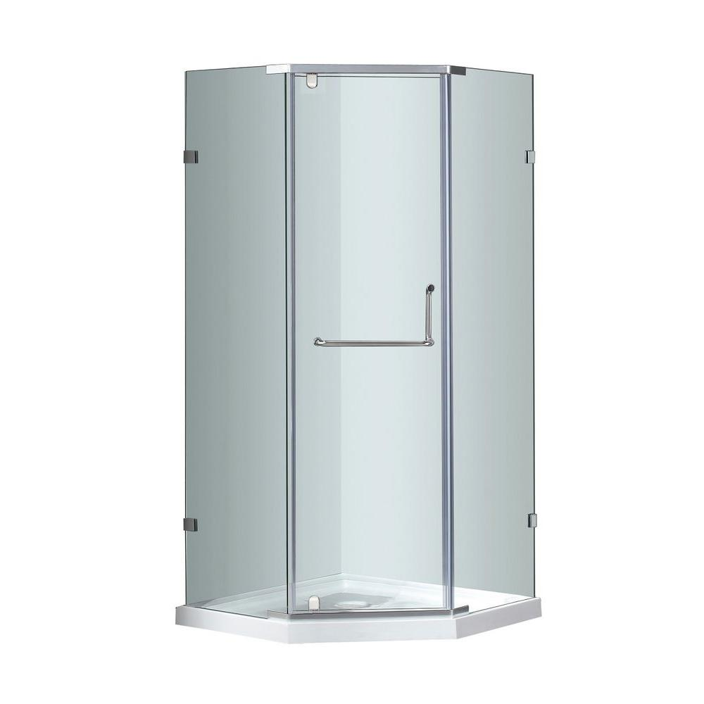 Aston SEN973 36 in. x 36 in. x 77-1/2 in. Semi-Frameless Neo-Angle Pivot Shower Enclosure in Stainless Steel with Base