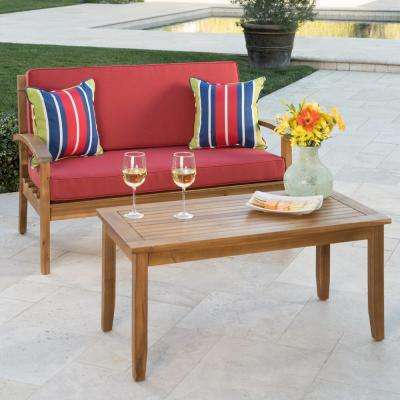 Caldwell Teak 2-Piece Wood Patio Conversation Set with Red Cushions