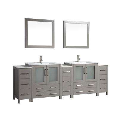 Brescia 96 in. W x 18 in. D x 36 in. H Bath Vanity in Grey with Vanity Top in White with White Basin and Mirror