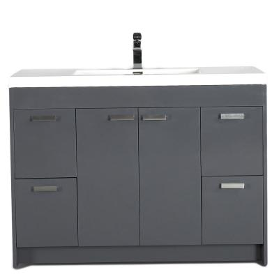 Lugano 48 in. Modern Bathroom Vanity in Gray with Integrated Acrylic Top in White with White Sink