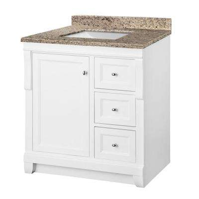 Naples 31 in. W x 22 in. D Vanity in White with Granite Vanity Top in Ornamental Giallo and White Basin