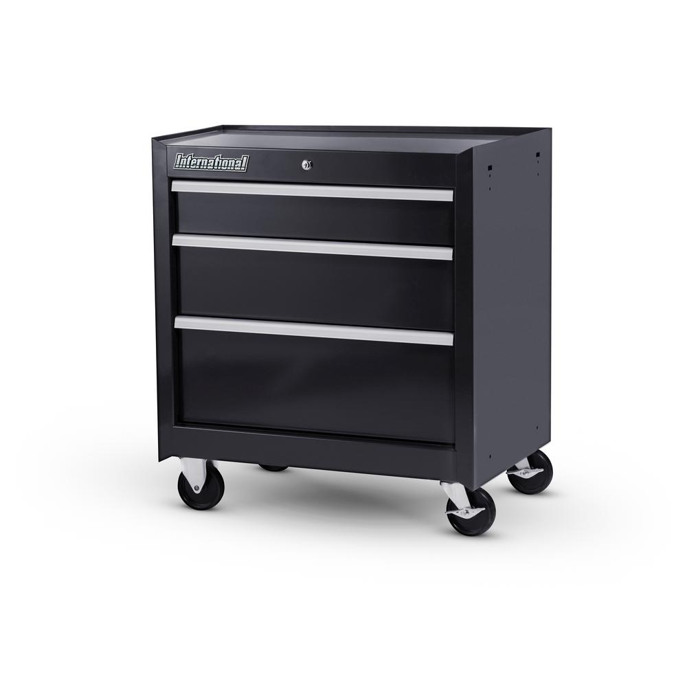 Workshop Series 27 in. 3-Drawer Cabinet, Black