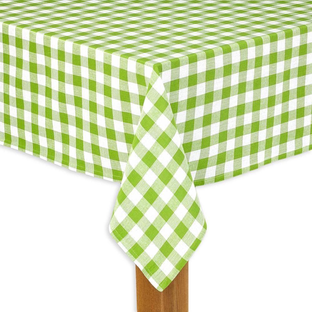Lintex Buffalo Check 60 In. X 84 In. Green 100% Cotton TableCloth For